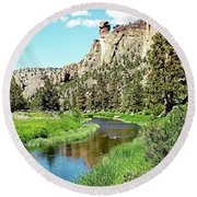 Round Beach Towel featuring the digital art Monkey Face Rock - Smith Rock National Park by Joseph Hendrix