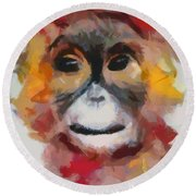 Monkey Splat Round Beach Towel