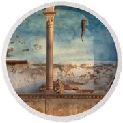 Round Beach Towel featuring the photograph Monkeys At Sunset by Jean luc Comperat