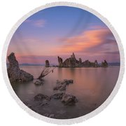 Mono Lake Long Exposure Sunset  Round Beach Towel