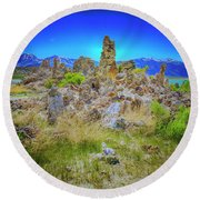 Mono Lake, South Tufa's Round Beach Towel by Craig J Satterlee