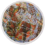 Mono Print 002 - Elephant In Misty Jungle Round Beach Towel