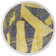 Mono Print 005 - Broken Steps Round Beach Towel