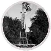 Monochrome Abandoned Windmill Whisper Windmill   Round Beach Towel
