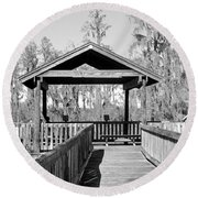 Monochrome Osprey Overlook Shelter Round Beach Towel