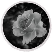 Monochrome Rose Macro Round Beach Towel