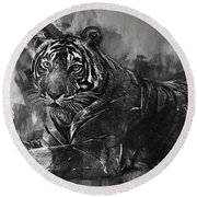 Monochrome Tiger Round Beach Towel by Jack Torcello