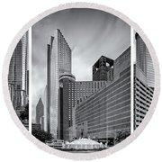 Monochrome Triptych Of Downtown Houston Buildings - Harris County Texas Round Beach Towel