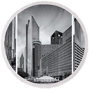 Monochrome Triptych Of Downtown Houston Buildings - Harris County Texas Round Beach Towel