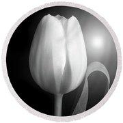 Monochrome Tulip Portrait Round Beach Towel