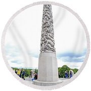 Monolith Of 121 Human Figures Round Beach Towel by Allan Levin
