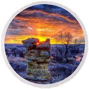 Round Beach Towel featuring the photograph Monolithic Sunrise by Fiskr Larsen