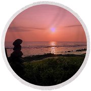 Round Beach Towel featuring the photograph Monoliths At Sunset by Lori Seaman
