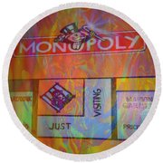 Round Beach Towel featuring the mixed media Monopoly Dream by Kevin Caudill