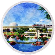 Monorail Red - Coming 'round The Bend Round Beach Towel