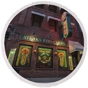 Round Beach Towel featuring the photograph Monroe St Steakhouse by Nicholas Grunas