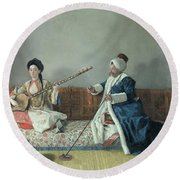 Monsieur Levett And Mademoiselle Helene Glavany In Turkish Costumes Round Beach Towel