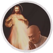 Round Beach Towel featuring the painting Monsignor Blacet by Dave Luebbert