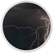 Monsoon Lighting Storm Round Beach Towel