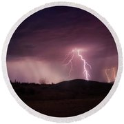 Monsoon Lightning Round Beach Towel by Anthony Citro