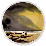 Monsoon Seashore And Fishing Boats Round Beach Towel by Samiran Sarkar