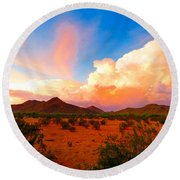 Monsoon Storm Sunset Round Beach Towel