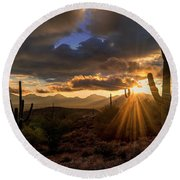 Round Beach Towel featuring the photograph Monsoon Sunburst by Anthony Citro