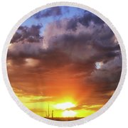 Monsoon Sunset Round Beach Towel by Anthony Citro
