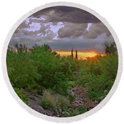Round Beach Towel featuring the photograph Monsoon Sunset H56 by Mark Myhaver