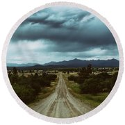 Monsoons From The Meadows Round Beach Towel