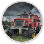 Round Beach Towel featuring the photograph Monster Fire Truck by Guy Whiteley