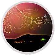 Monster Lightning By Michael Tidwell Round Beach Towel