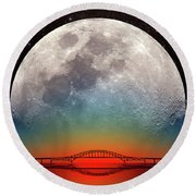 Monster Moonrise Round Beach Towel
