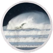 Monster Wave Round Beach Towel by Nicholas Burningham