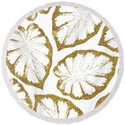 Monstera Gold Round Beach Towel by Uma Gokhale