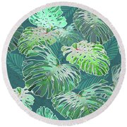 Monstera Jungle Teal Round Beach Towel
