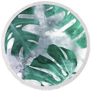 Monstera Theme 1 Round Beach Towel by Emanuela Carratoni