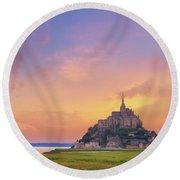 Mont-saint-michel At Dawn Round Beach Towel