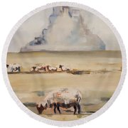 Mont Saint Michel In The Morning Round Beach Towel