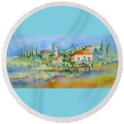 Round Beach Towel featuring the painting Montacatini Alto by Trudi Doyle