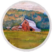 Montana Barn Round Beach Towel by Larry Hamilton