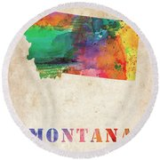 Montana Colorful Watercolor Map Round Beach Towel