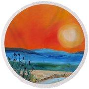 Montana Firery Sunset             49 Round Beach Towel