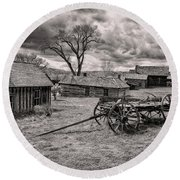 Montana Ghost Town Round Beach Towel