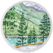 Montana - Lake Como Series Round Beach Towel