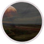Montana Landscape On Blood Moon Round Beach Towel