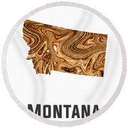 Montana Map Art Abstract In Brown Round Beach Towel