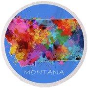 Montana Map Color Splatter 3 Round Beach Towel
