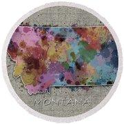 Montana Map Color Splatter 5 Round Beach Towel