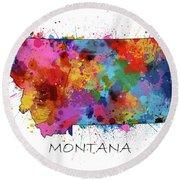 Montana Map Color Splatter Round Beach Towel